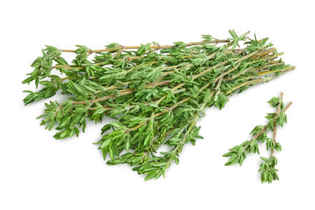 fresh thyme isolated on a white background with  and full depth of field