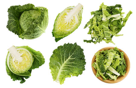 Savoy cabbage isolated on white background with full depth of field, Set or collection