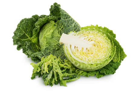 Savoy cabbage half isolated on white background with   and full depth of field Banque d'images