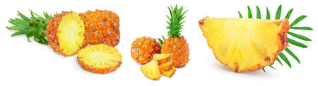 pineapple half and slices isolated on white background with full depth of field, Set or collection Banque d'images