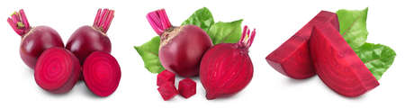 beetroot isolated on white background with full depth of field. Top view. Flat lay. Set or collection