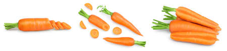 Carrot isolated on white background . Set or collection Banque d'images