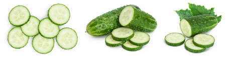 Sliced cucumber isolated on white background. Set or collection