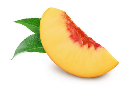 Ripe peach slices isolated on white background with and full depth of field