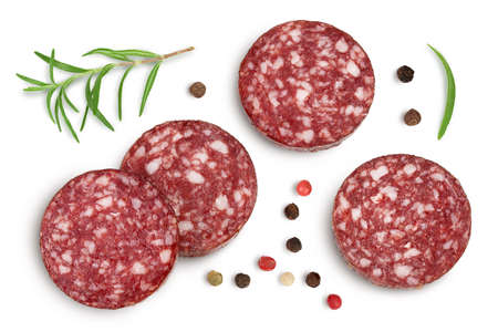 Smoked sausage salami slices isolated on white background with and full depth of field. Top view. Flat lay Banque d'images