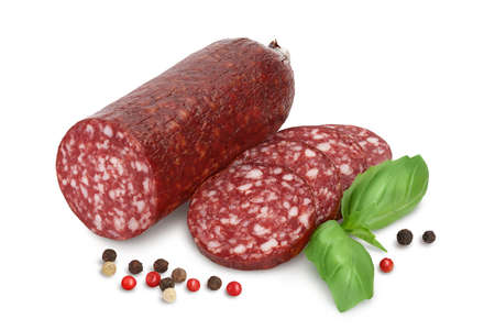 Smoked sausage salami isolated on white background with and full depth of field Banque d'images