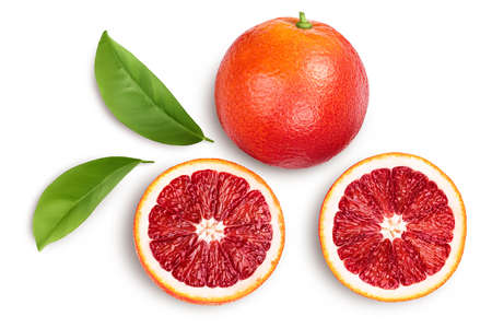 Blood red oranges isolated on white background with . Top view. Flat lay
