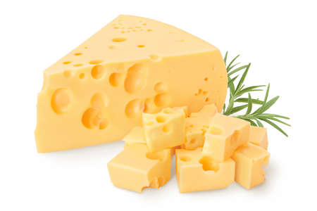 piece of cheese isolated on white background with and full depth of field