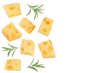 piece of cheese isolated on white background. Top view with copy space for your text. Flat lay