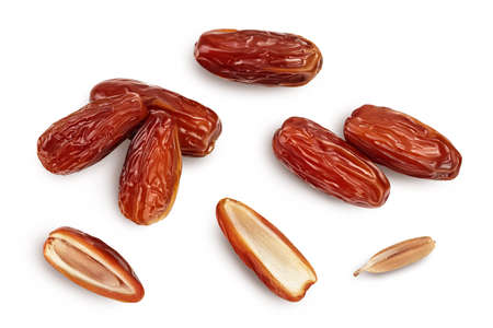 Dates isolated on white background with . Top view. Flat lay