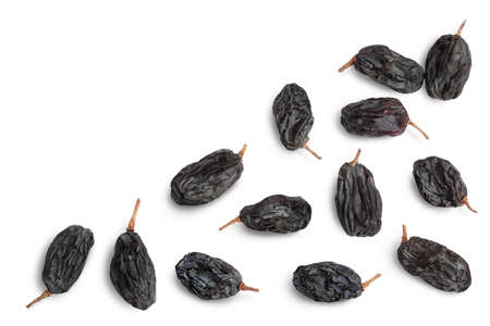 Black raisin isolated on white background with path. Top view with copy space for your text. . Flat lay Banque d'images