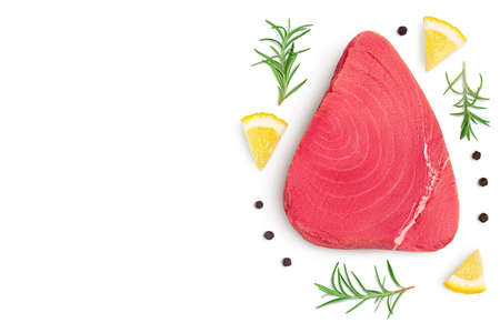 Fresh tuna fish fillet steak isolated on white background with path. Top view with copy space for your text. .Flat lay