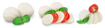 Mozzarella cheese sliced with basil leaf isolated on white background . Set or collection
