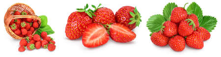 Strawberry and half isolated on white background. Fresh berry with full depth of field. Set or collection
