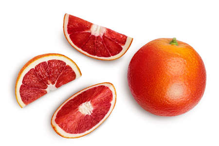 Blood red oranges with slices isolated on white background with clipping path. Top view. Flat lay