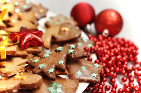 Christmas Glazed gingerbread biscuits Zdjęcie Seryjne