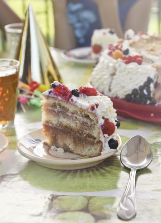 Summer cake, decorated with berries