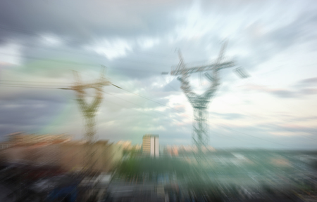 Blur abstract power line in the city Zdjęcie Seryjne