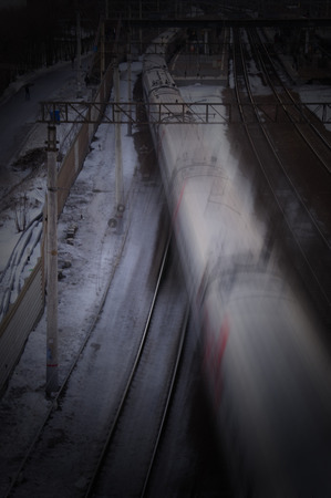 Rail transportation, abstract motion blur, dark background
