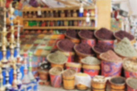 business for the middle: Eastern market, sale of spices and hookahs, blurred