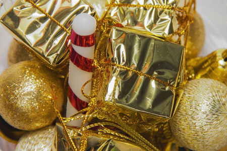 Christmas ornaments of gold color decorations for the