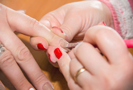 artificial nails: manicure, nails, correction of artificial nails, applying gel on the nail color polish, beauty salon