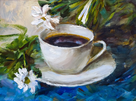 painting texture oil painting still life, a cup of coffee drink impressionism art, painted color image, backgrounds and wallpaper, floral pattern on canvas
