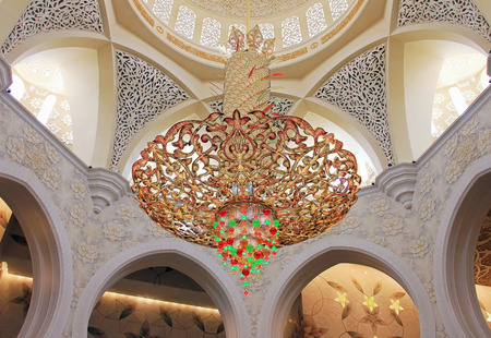 swarovski: Chandelier inside Sheikh Zayed Mosque, Abu Dhabi, United Arab Emirates from Swarovski stones April 7, 2014 Editorial