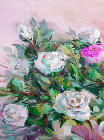Pintura al óleo, estilo impresionismo, pintura de texturas, todavía flor de arte pintura de la vida pintado color de la imagen, fondos de escritorio y fondos, lienzo, artista, pintando un patrón de flores, rosas Foto de archivo - 67916366