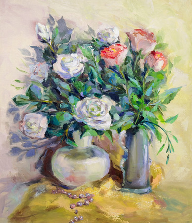 life style: Oil Painting, Impressionism style, texture painting, flower still life painting art painted color image, wallpaper and backgrounds, canvas, artist, painting a flower pattern, roses