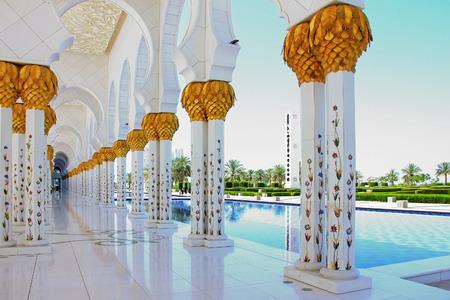 sheikh zayed mosque: April 15, 2014 : Abu Dhabi, United Arab Emirates. Sheikh Zayed Mosque, gold plated columns, soft focus