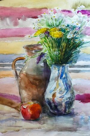 水彩絵画、印象派のスタイル、花のある静物絵画アート色カラー画像、壁紙、ペーパー アーティスト絵画花模様の背景のテクスチャ