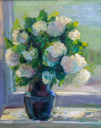 oil painting texture painting still life, impressionism art on canvas, painted a color image, wallpaper and backgrounds, flowers 版權商用圖片