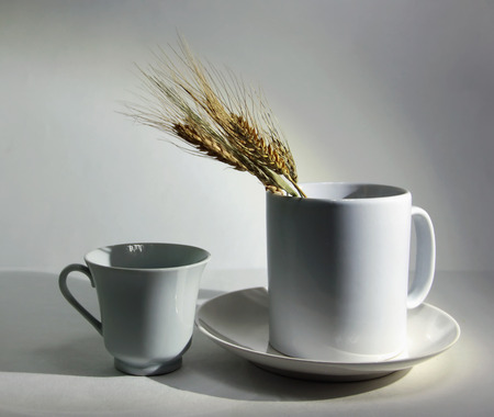white crockery cup and ears of wheat on a white background still life Stock Photo