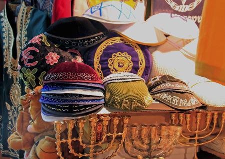 kippah: Jewish skullcap hat, on sale at the market Stock Photo