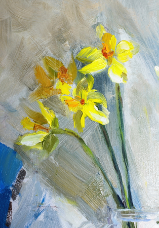 life style: Oil Painting, Impressionism style, texture painting, flower still life painting art painted color image, wallpaper and backgrounds, canvas, artist, painting floral pattern, Narcissuses Stock Photo