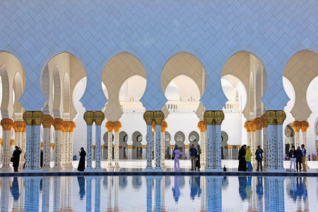 sheikh zayed mosque: April 15, 2014: Abu Dhabi, United Arab Emirates. Sheikh Zayed Mosque soft focus panorama