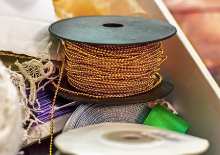 interior decoration accessories: ribbons for clothing and decoration, sewing accessories, interior decoration and handicrafts, soft focusr Stock Photo