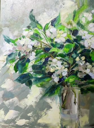 Pintura al óleo, estilo impresionismo, pintura de texturas, todavía flor de arte pintura de la vida pintado color de la imagen, fondos de escritorio y fondos, lienzo, artista, pintura estampado de flores, jazmín en la ventana Foto de archivo - 67916391