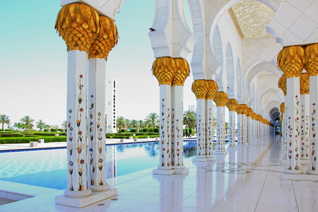 April 15, 2014 : Abu Dhabi, United Arab Emirates. Sheikh Zayed Mosque, gold plated columns, soft focus