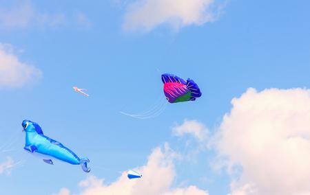 Bright kites floating in the blue sky, kite festival,   版權商用圖片