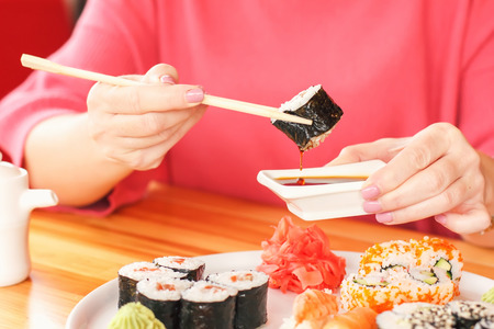 The best sushi rolls, Japanese cuisine. Various delicious sushi rolls.