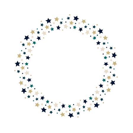 Vector stars wreath. Stars frame for greeting, invitation cards design.