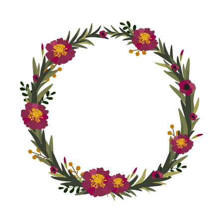 Vector flower wreath. Floral frame for greeting, invitation, wedding cards design.