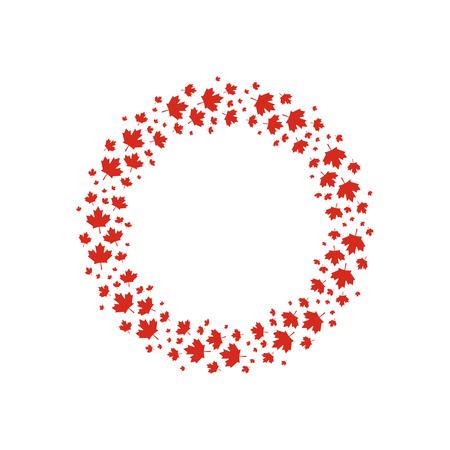 Red maple leaves wreath illustration. Ilustração