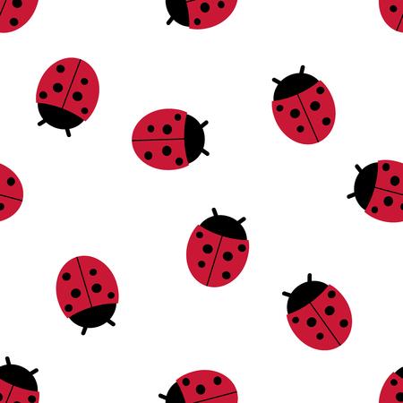 Vector seamless pattern of ladybugs. Seamless pattern.