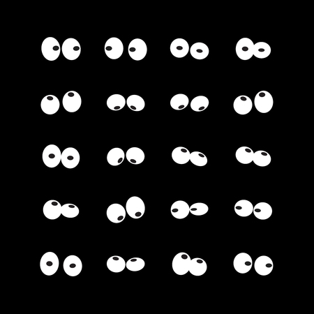 Vector set of different shapes of cartoon eyes in the dark