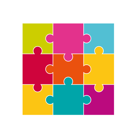 Vector colorful jigsaw puzzle pieces. Jigsaw puzzle parts. Stock Illustratie