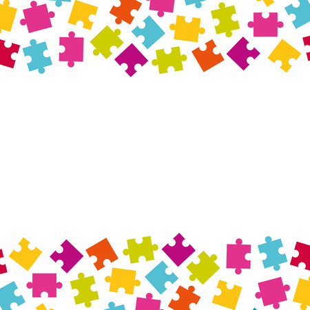 Vector borders of colorful jigsaw puzzle pieces. Frame of colorful puzzle pieces.