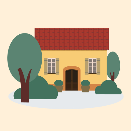 Vector illustration of yellow house with a tiled roof.